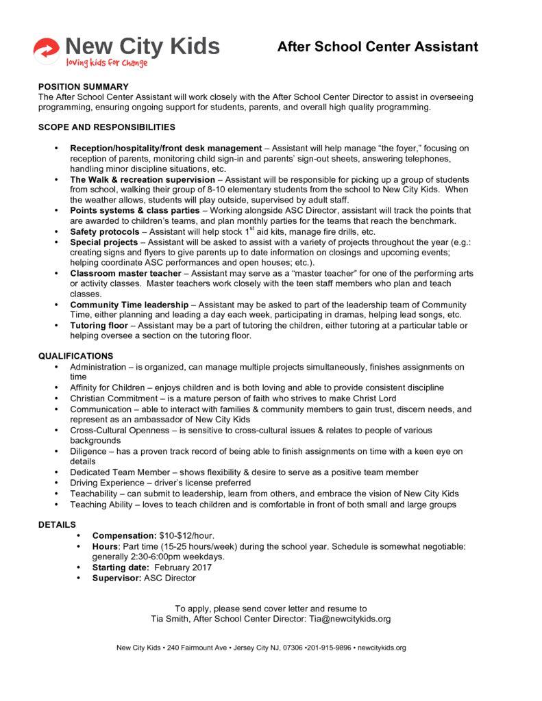 thumbnail of ASC Assistant job description 16-17