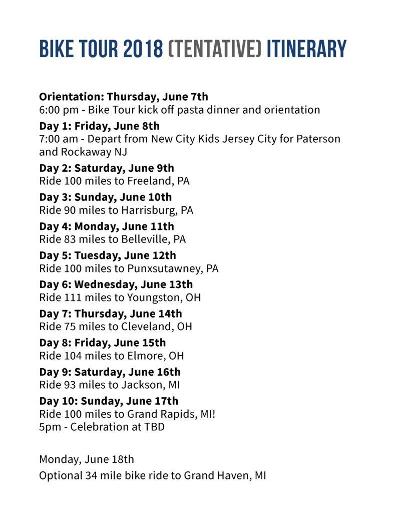 thumbnail of Bike Tour 2018 Itinerary