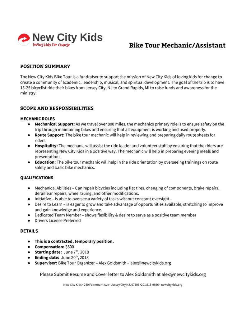 bike tour mechanic job description doc